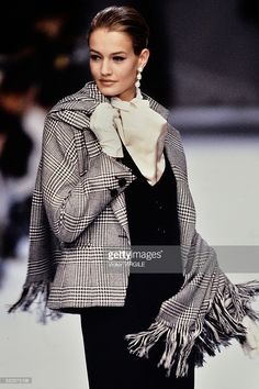 Karen Mulder walks the runway during the Dior Ready to Wear show as part of Paris Fashion Week Fall/Winter 1990-1991 in March, 1990 in Paris, France.
