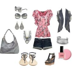 Polyvore Summer Outfits | Summer outfit - Pink and silver, created by megan-macht on Polyvore by ...