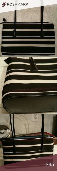 "Shoulder bag Kate Spade ""like"" off the shoulder Clair purse;  canvas style, black, cream, brown horizontal stripes. Bags Shoulder Bags"