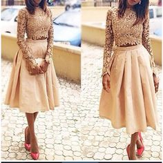 Guipure Lace Blouse and Raw Silk Midi Skirt Theafricanshop Lace African Clothing Women