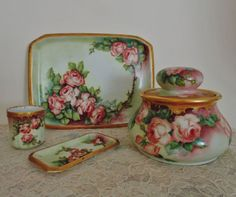 French-Victorian-Limoges-Porcelain-Smoking-Set-Tobacco-Jar-Tray-amp-Cup-Roses