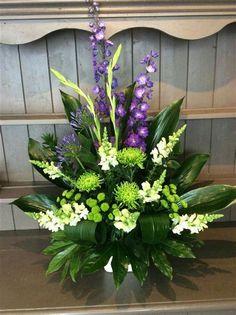 Funeral Floral Arrangements, Easter Flower Arrangements, Tropical Floral Arrangements, Creative Flower Arrangements, Flower Arrangement Designs, Beautiful Flower Arrangements, Beautiful Flowers, Exotic Flowers, Purple Flowers