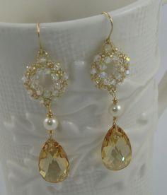 Crystal Pearl Gold Drop Earring Vintage Inspired by BestDayBridal