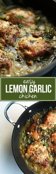 Easy Lemon Garlic Chicken | This quick and healthy chicken recipe tastes great over rice or pasta and is on the table in no time!