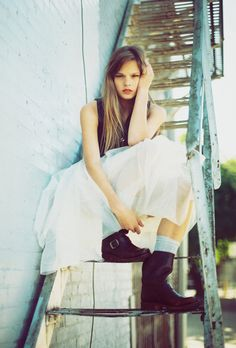 rust staircase, tulle skirt, grunge boots