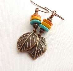 Colorful Mykonos Earrings, Greek Beads, Copper Leaves, Beaded Boho Jewelry. $30.00, via Etsy.