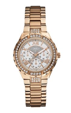 GUESS Women's Sparkling Hi-Energy Mid-Size Gold-Tone Watch Quartz movement Polished gold-tone with crystal Brushed and polished gold-tone stainless steel bracelet Day, Date, 24 Hour Intl Time Functions Water-resistant to 100 M feet) Gold Plated Bracelets, Metal Bracelets, Crystal Bracelets, Chic Type, Watches Online, Stainless Steel Bracelet, Rose Gold Plates, Gold Watch, Lady