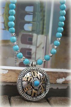 Tibetan Om Mani Mantra Prayer Box Amulet Pendant with Turquoise Yoga Buddhist Meditation Jewelry Bohemian spiritual ethnic Unisex on Etsy, $45.00