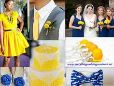 centerpieces in cobalt and yellow - Google Search