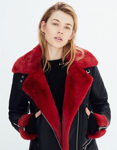 Faux shearling biker jacket. Discover this and many more items in Bershka with new products every week