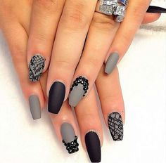 Matte Grey & Black with Designs & Studs.