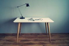 """Desc/Table """"Oak and White simple"""" Table Desk, Wood Furniture, Office Desk, Drawers, Simple, Home Decor, Bedroom, Homemade Home Decor, Timber Furniture"""
