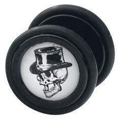 """Vi piacciono i plug ma non volete dilatare i lobi delle orecchie? I falsi plug """"Skull"""" di #Wildcat sono quello che fa per voi. Set di falsi plug con teschio con cilindro stampato sulla superficie. Ø: 11 mm. Spessore perno: 1,2 mm. Materiale: acrilico."""
