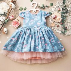 Beautiful Fluffy Baby Dress With Flamingo And Big Bow On Back - Natural Fabric - Pink Tulle - Perfect Gift - Baby / Toddler - Size Years Frocks For Girls, Toddler Girl Dresses, Princess Outfits, Girl Outfits, Little Dresses, Flower Girl Dresses, Whimsical Dress, Baby Dress Design, Kids Frocks Design
