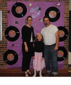 school sock hop - Photo back drop Records stars