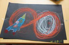 schrijfdans de raket in de ruimte