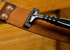 Extend the life of your razors by sharpening them against the underside of a leather belt. Diy Leather Belt, Leather Tooling, Diy Air Conditioner, The Razors Edge, Blade Sharpening, Old Fan, Shaving Razor, Money Saving Tips, Saving Ideas