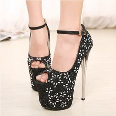 US$ 75 Womens High Heels Platform Ankle Strap Pumps Crystal Peep Toe Stilettos Shoes