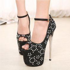 US$ 75 Womens High Heels Platform Ankle Strap Pumps Crystal Peep Toe Stilettos Shoes