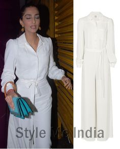 Sonam Kapoor packs a punch in a cream Reiss Tyler jumpsuit!! http://shar.es/stMLP