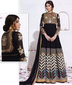 Buy Black Georgette Floor Length Anarkali Suit 78037 online at lowest price from huge collection of salwar kameez at Indianclothstore.com.