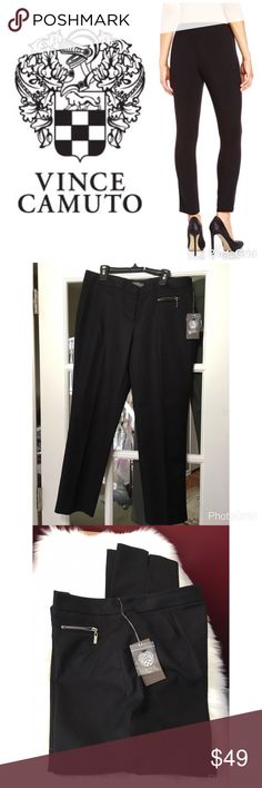 """🆕Vince Camuto Black Front Zipper Pants Rich Black pants by Vince . 1 Front sideways zipper pocket detail in silver tone. Traditional zipper fly with hook & button closure. ( extra button included) Size: 6 ( flat across  16.25"""") Inseam 26"""". Skinny Ankles with small slits. Cotton/Spandex. Brand new with tags. Vince Camuto Pants Straight Leg"""