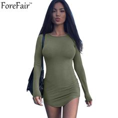 >> Click to Buy << Forefair S-2XL Casual Slim Mini Dress Women Long Sleeve O-Neck Sexy Clubwear Bodycon Stretch T Shirt Dress 2017 Autumn Vestidos #Affiliate
