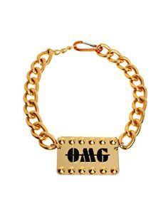 Image 1 ofFunky Bling OMG Tag Chain Choker Necklace
