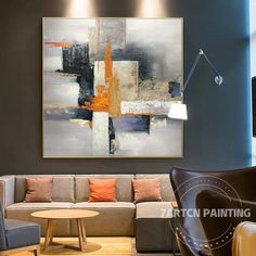 Modern abstract gray nordic style acrylic original canvas oil painting wall art pictures for living Abstract Tree Painting, Abstract Canvas Art, Oil Painting On Canvas, Painting Frames, Acrylic Canvas, Acrylic Paintings, Living Room Pictures, Wall Art Pictures, Extra Large Wall Art