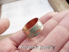 Copper ring raw copper etched mint patina wedding wide by mmgem, $42.00