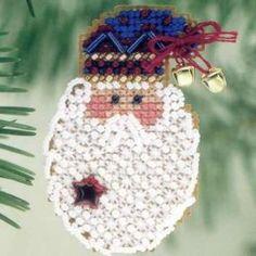 Kris Kringle PIN - 2001. Santa Cross Stitch, Beaded Cross Stitch, Counted Cross Stitch Kits, Types Of Embroidery, Embroidery Kits, Mill Hill Beads, Beaded Christmas Ornaments, Christmas Crafts, Button Cards