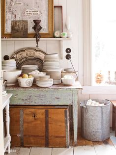 finnish kitchen weathered table dishes