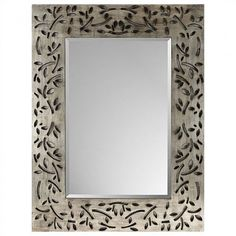 Paragon Silver Industrial Leaf Rectangle Mirror - 8691