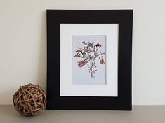 Pressed flower art print 8x10 matted print from one of my