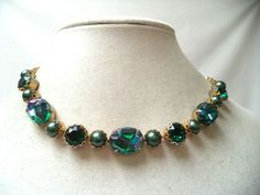 STUNNING VINTAGE ESTATE SIGNED SCHIAPARELLI IRIDESCENT CAB NECKLACE!!! 1606V