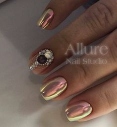 likes, 3 Comments - The most beautiful ideas of manicure . Glam Nails, Fancy Nails, Bling Nails, Trendy Nails, Cute Nails, Chrome Nails Designs, Cool Nail Designs, Diamond Nail Art, Luminous Nails