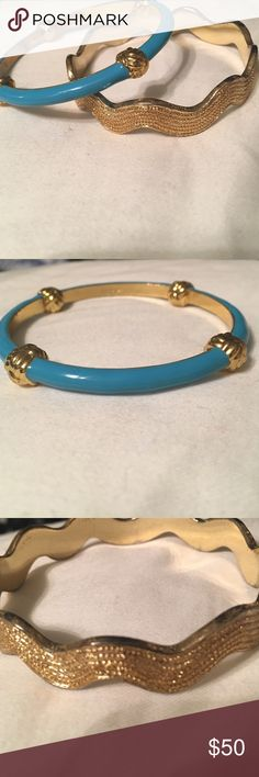 Lot of 2 Lilly gold bangles bracelets Rare Lot of 2 Lilly bangles. I'm also selling individually so make an offer! 1 is gold and turquoise blue nautical bangle. The other is the rare ric arc bangle in gold. Both are preowned with some slight wear on inside but doesn't affect the look Lilly Pulitzer Jewelry Bracelets