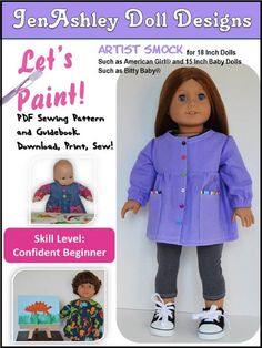 JenAshley Doll Designs Let's Paint Artist Smock Doll Clothes Pattern 18 inch American Girl Dolls   Pixie Faire