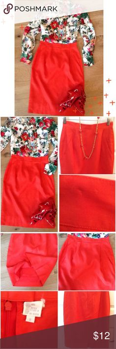 Red linen skirt Vintage red 100% linen skirt; slit faux pockets; 13.5 inch waist flat would fit a 6/8; good pre loved condition;  2 small pin marks as this skirt has been hanging in my closet for 10 plus years since it was last drycleaned connected by safety pins; see photo not noticeable when wearing Levan Sport Skirts Midi