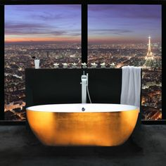 Bathroom with a WOW! view of Paris!!  Can't get much better view than that!  Extraordinary Bathroom Design