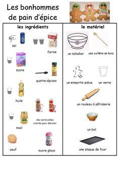 recette illustrée bonhomme pain d'épices, lire peser cuisiner
