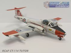 1/33 Scale CL41 Tutor Jet Paper Model by Dave Winfield www.papermodelshop.com Paper Airplane Models, Paper Planes, Model Airplanes, Paper Models, Plastic Model Kits, Plastic Models, Plane Crafts, Jet, Model Hobbies