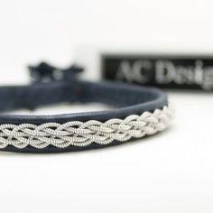 Sami bracelet in Marine Blue reindeer leather handmade in Sweden by AC Design