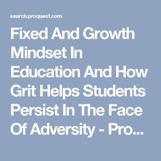 Fixed And Growth Mindset In Education And How Grit Helps Students Persist In The Face Of Adversity - ProQuest Growth Mindset, Students, Education, Face, Faces, Educational Illustrations, Learning, Facial, Studying