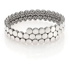 John Hardy Dot Sterling Silver Double Coil Bracelet (46.920 RUB) ❤ liked on Polyvore featuring jewelry, bracelets, apparel & accessories, silver, chains jewelry, polka dot jewelry, sterling silver bangles, stacked bangles and sterling silver jewelry