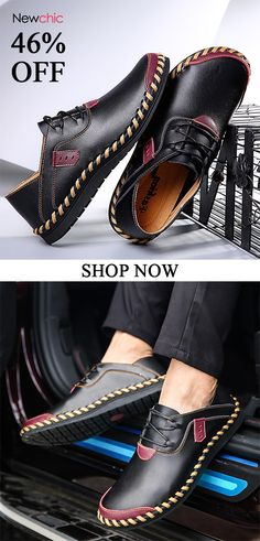 faaf77be6d9 [46%off]Men's Stitching Soft Sole Breathable Casual Lace Up Driving Loafers  #