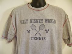 Walt Disney World Tennis T-Shirt Large Mickey Mouse Ball Head Ears USA Vintage #Disney #ShortSleeve