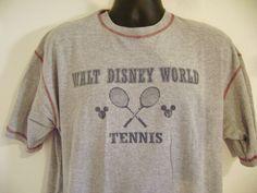Walt Disney World Tennis T-Shirt Large Mickey Mouse Ball Head Ears USA Vintage #Disney #ShortSleeve