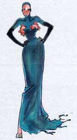 1993 - Jean Paul Gaultier sketch -  'explosive bra' dress for Victoria Abril in 'Kika' movie by Pedro Almodovar