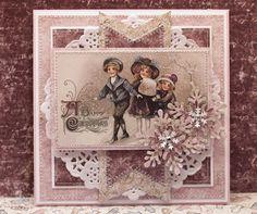 Christmas card with doily Christmas Card Crafts, Christmas Tag, Christmas Angels, Vintage Christmas, Shabby Chic Xmas Cards, Art Deco Cards, Xmas Theme, 3d Cards, Winter Cards